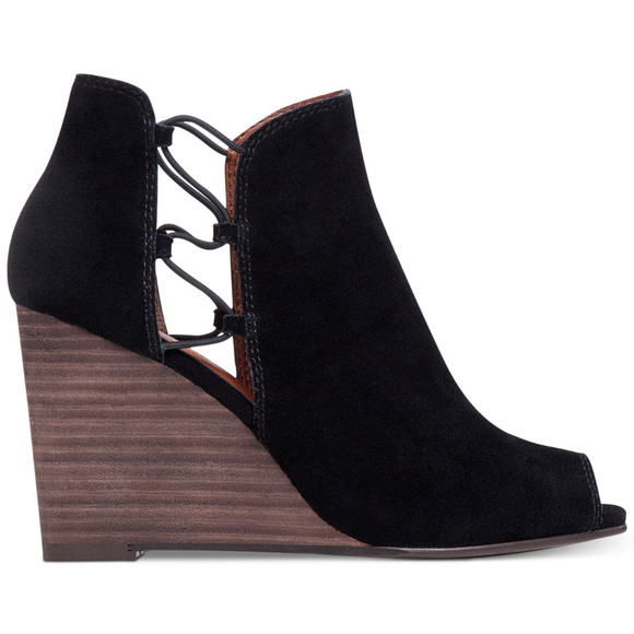 a78a81e2ee7 Lucky Brand Shoes - LUCKY BRAND Black Suede Reevas Peep-toe Booties